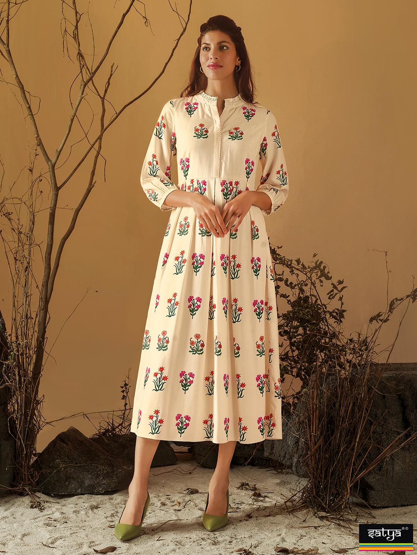 Cream cotton printed kurti for casual wear?imgeng=w_400