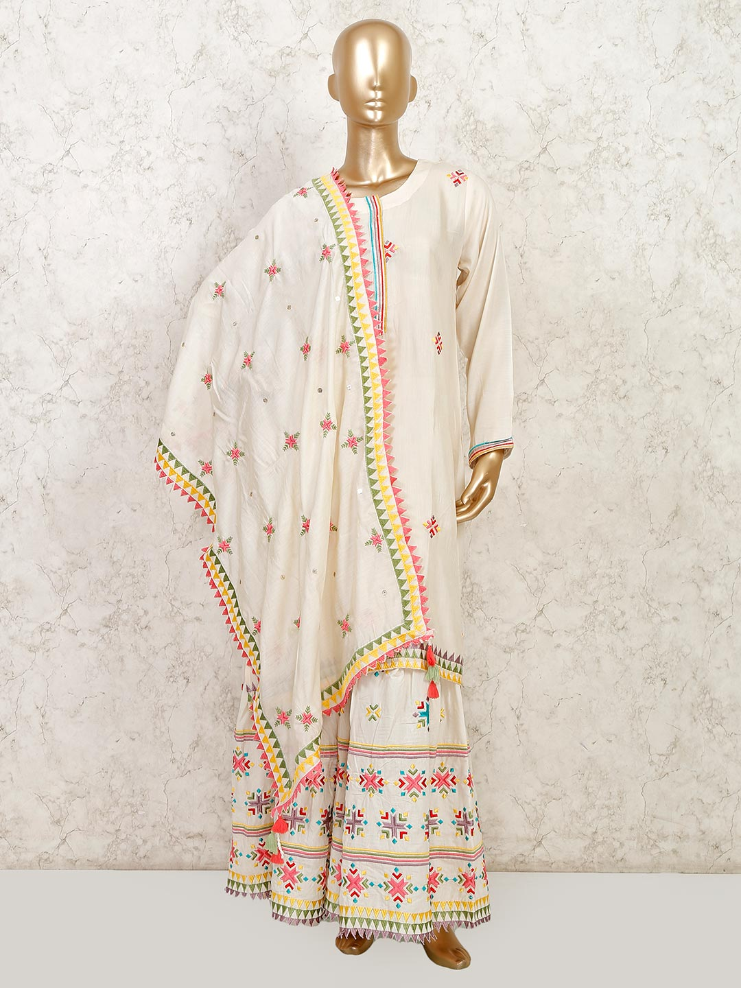Cream cotton sharara suit for festive?imgeng=w_400