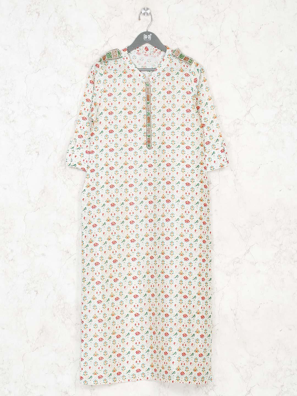 Cream printed cotton kurti in casual?imgeng=w_400