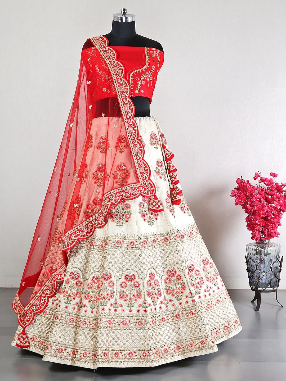 Cream raw silk wedding lehenga choli?imgeng=w_400