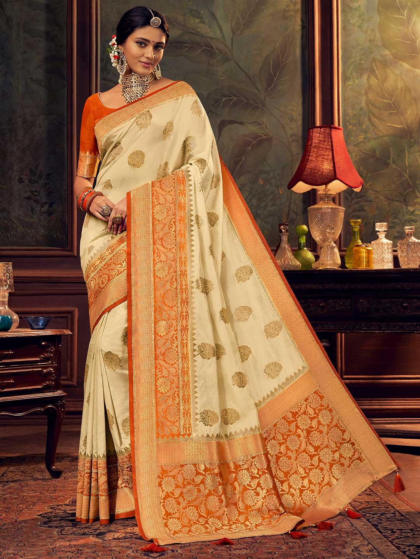 Cream silk saree with zari weaved for wedding?imgeng=w_400