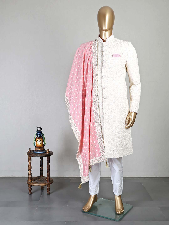 Cream silk wedding wear men sherwani?imgeng=w_400