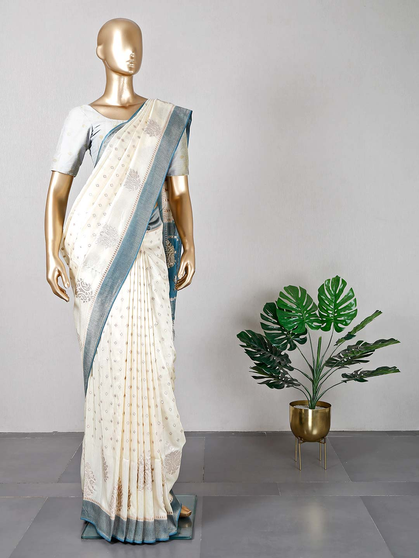 Cream wedding wear dola silk saree?imgeng=w_400