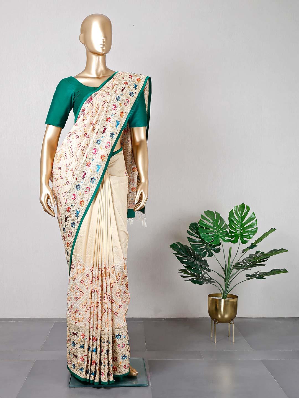 Cream wedding wear saree for women?imgeng=w_400