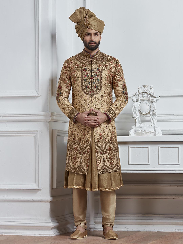Dark beige silk wedding wear sherwani?imgeng=w_400