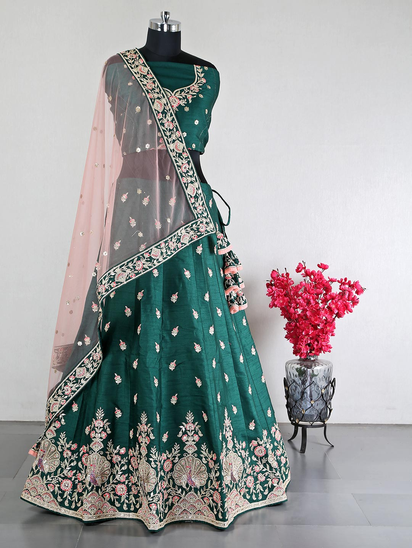 Dark green raw silk lehenga for women?imgeng=w_400