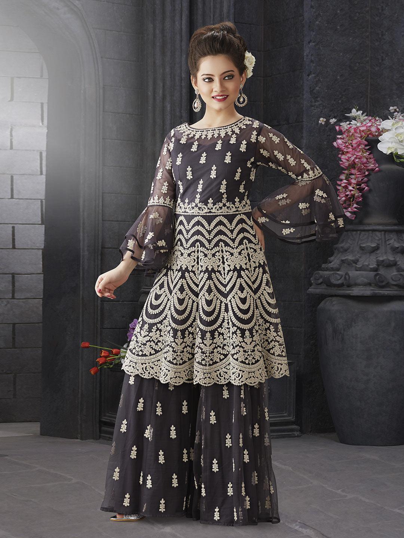 Dark grey net wedding punjabi sharara suit?imgeng=w_400