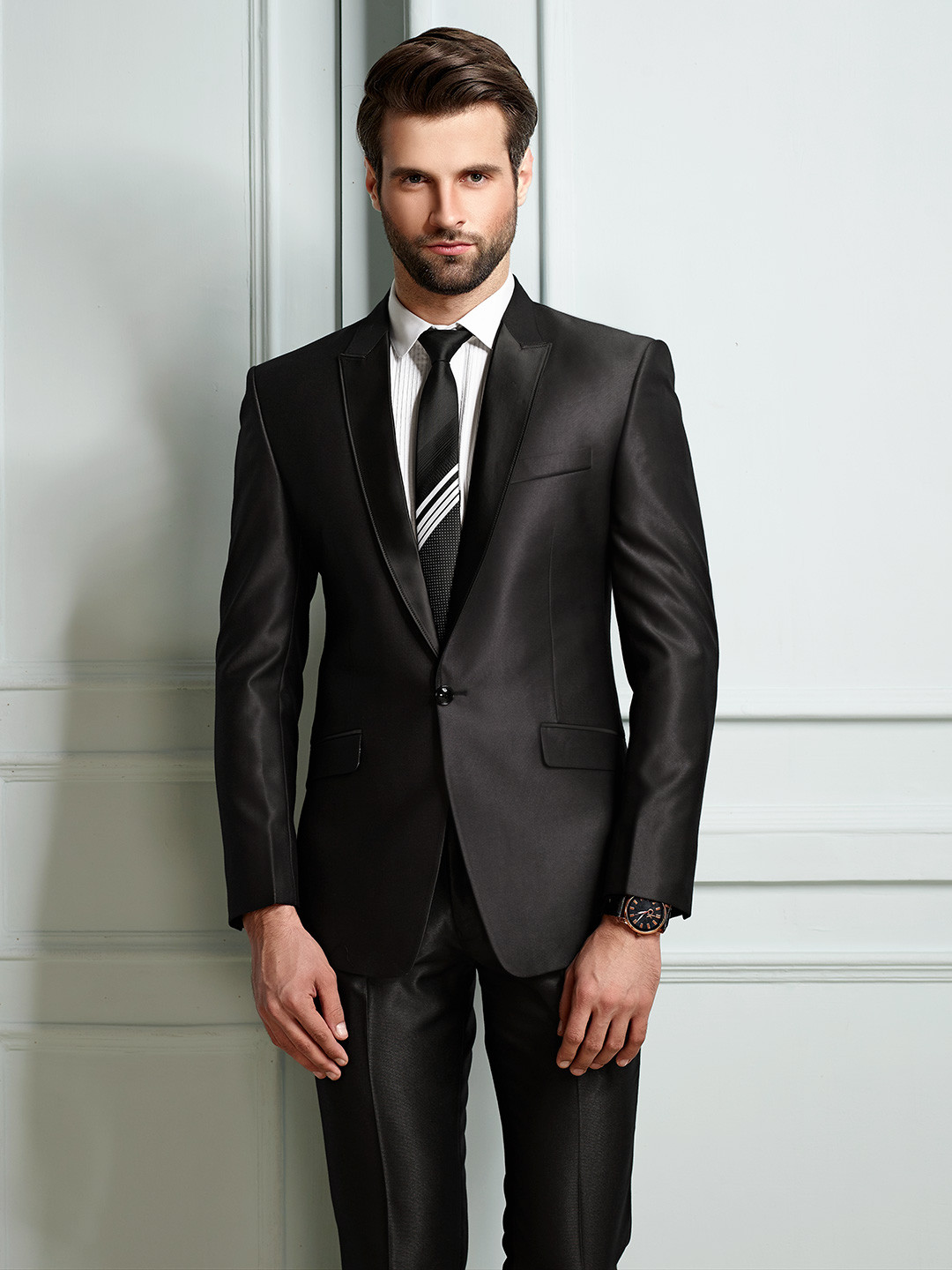 Dark grey terry rayon party function mens coat suit?imgeng=w_400