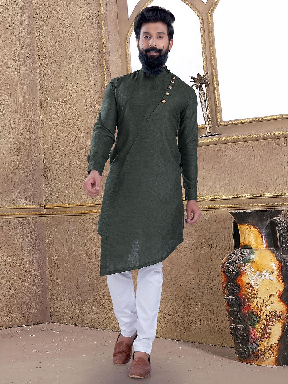 Dark olive green cotton silk kurta suit?imgeng=w_400