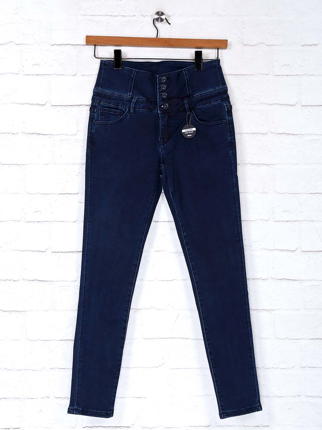 Deal navy solid denim casual jeans?imgeng=w_400