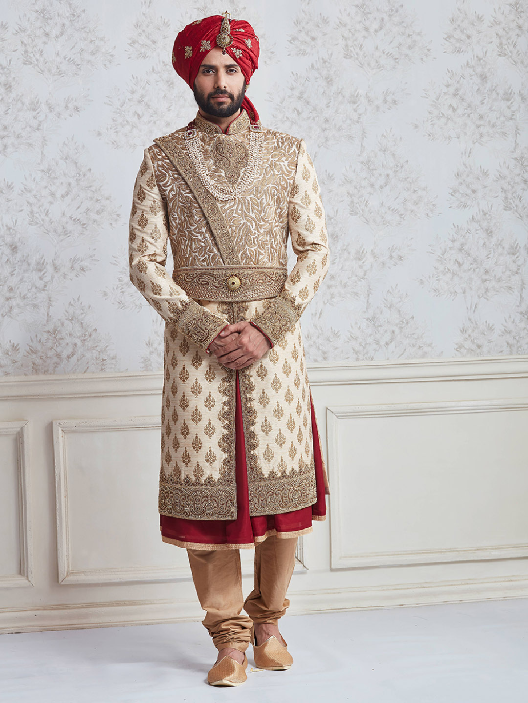Designer beige red silk wedding wear sherwani?imgeng=w_400