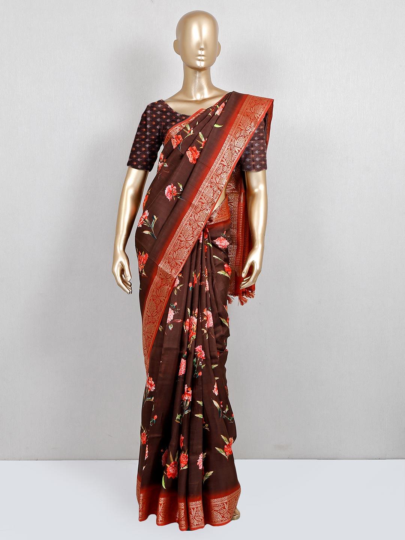 Designer brown printed festive wear saree in cotton?imgeng=w_400