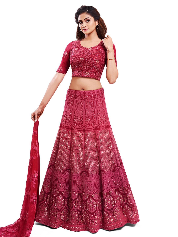 Designer magenta georgette wedding wear lehenga choli?imgeng=w_400