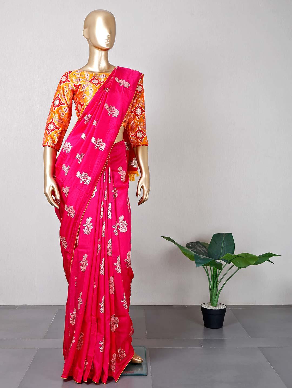 Designer magenta silk saree for wedding function?imgeng=w_400