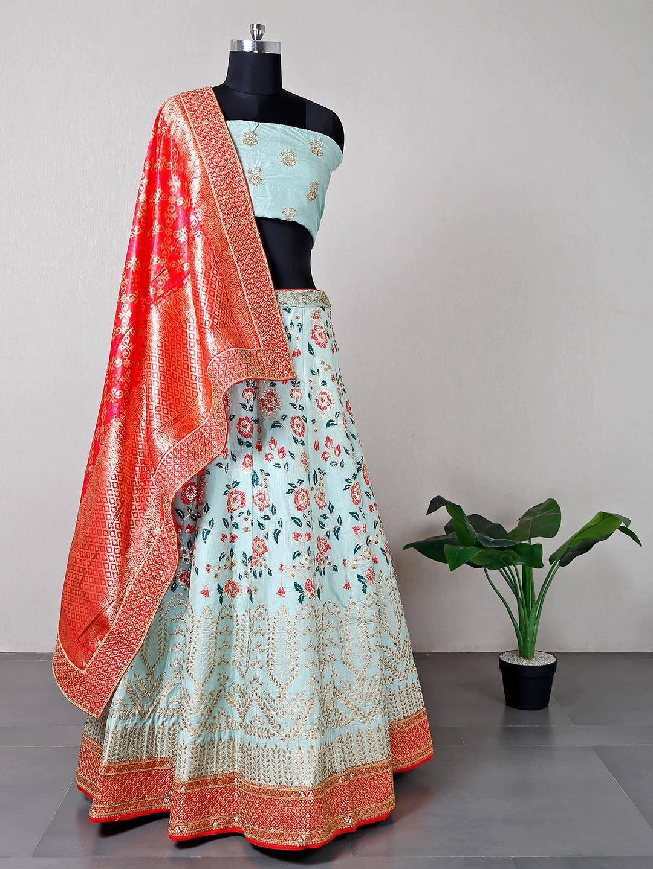 Designer pista green raw silk wedding wear lehenga?imgeng=w_400
