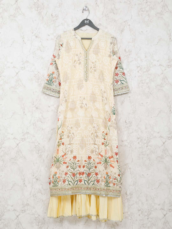Double layer cream printed kurti in cotton?imgeng=w_400