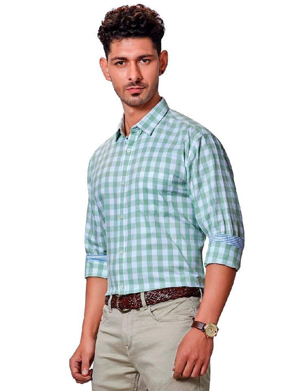 Dragon Hill green checks slim collar shirt?imgeng=w_400