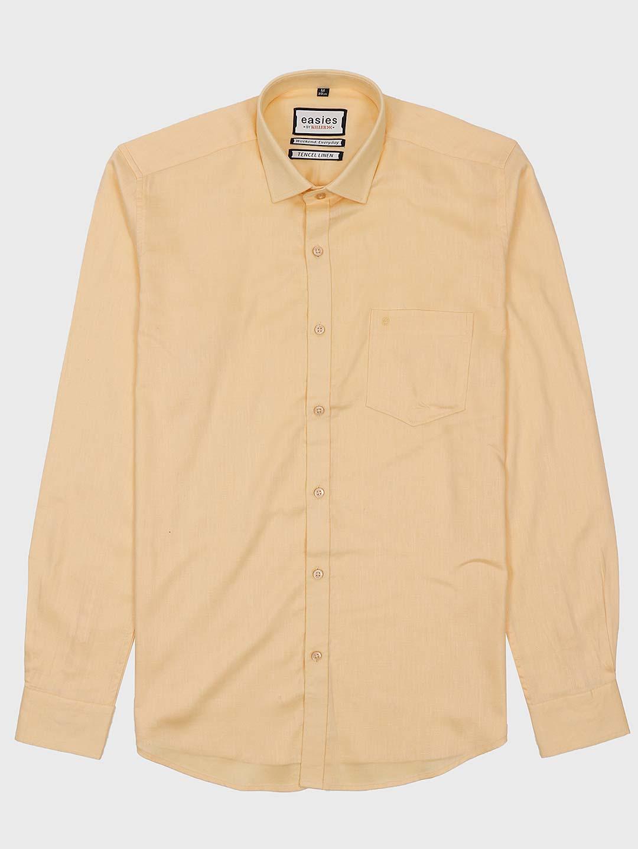 Easies solid lemon yellow cotton fabric shirts for men?imgeng=w_400