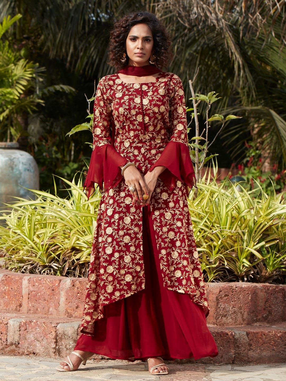 Eminent maroon georgette punjabi style wedding wear sharara suit?imgeng=w_400