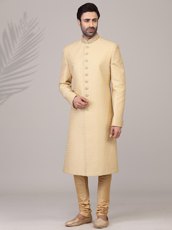 Eternal gold jacquard silk sherwani?imgeng=w_400