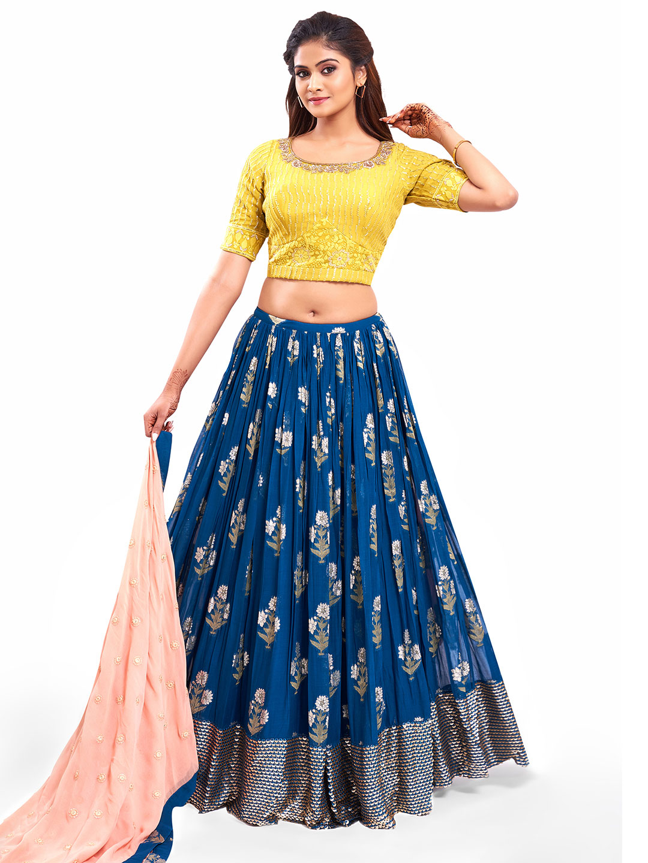Excellent blue georgette wedding wear lehenga choli?imgeng=w_400