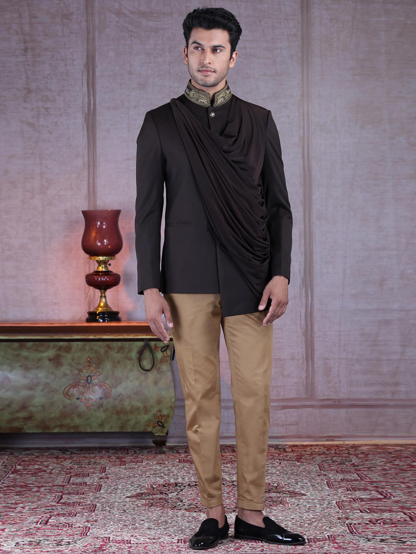 Exclusive brown terry rayon jodhpuri suit?imgeng=w_400