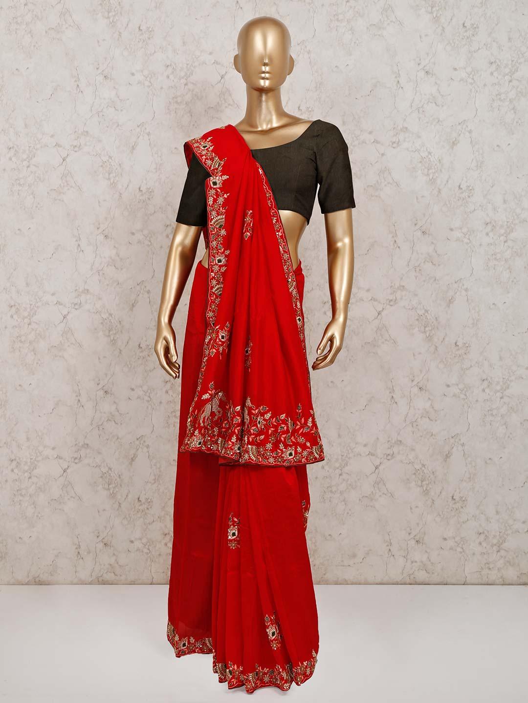 Exclusive red festive wear silk saree?imgeng=w_400