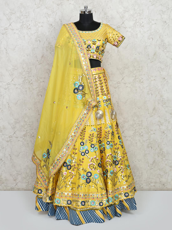 Exclusive yellow designer silk wedding lehenga choli?imgeng=w_400