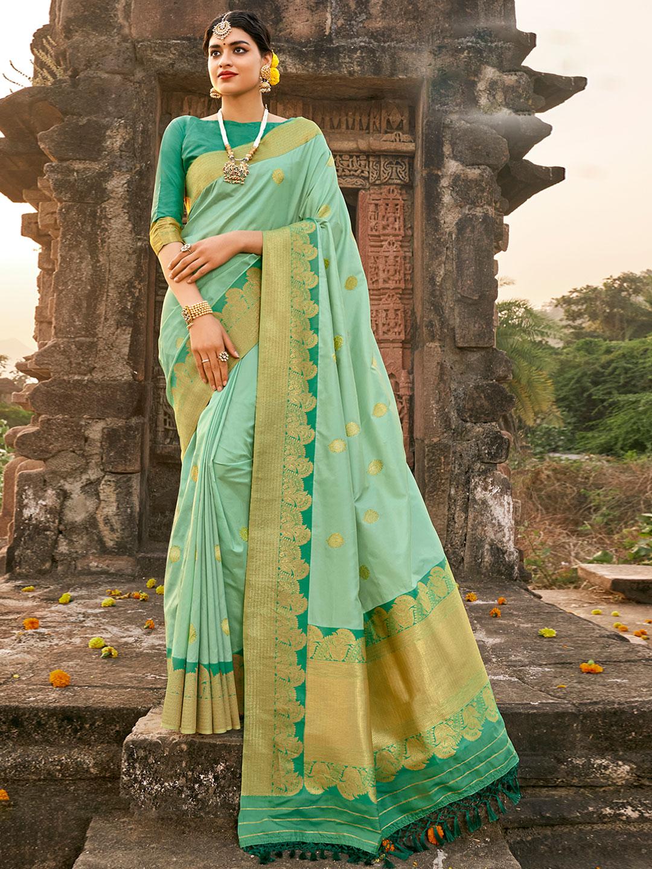 Fabulous aqua banarasi silk saree for wedding ceremonies?imgeng=w_400