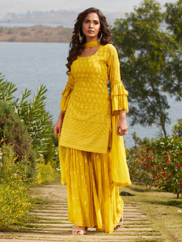 Fashionable yellow georgette punjabi style wedding wear sharara suit?imgeng=w_400