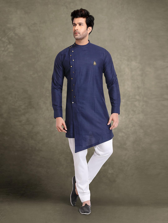 Festive occasion navy cotton jacquard kurta suit?imgeng=w_400