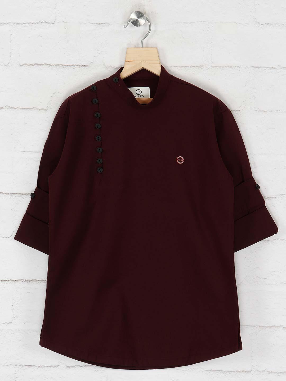 Festive wear cotton maroon kurta?imgeng=w_400