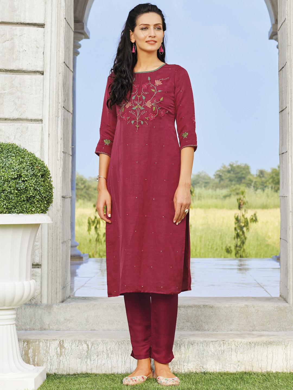 Festive wear magenta cotton kurti?imgeng=w_400