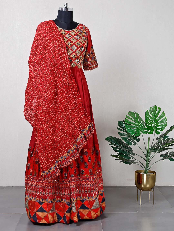 Festive wear maroon raw silk anarkali suit?imgeng=w_400