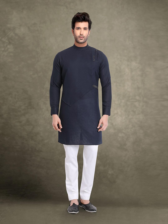 Festive wear navy solid kurta suit?imgeng=w_400