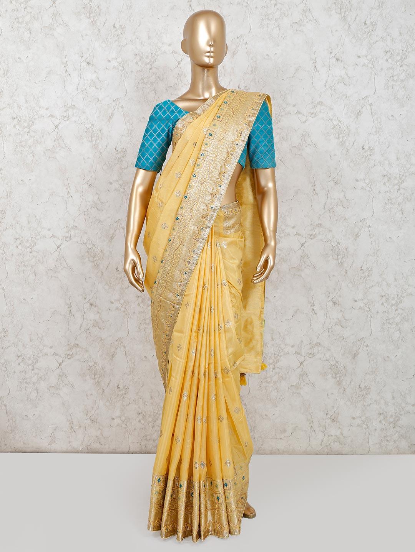 Festive wear yellow muga silk saree?imgeng=w_400