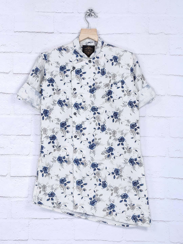 Flower printed white cotton fabric kurta suit?imgeng=w_400