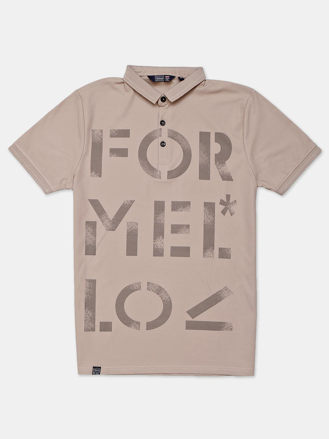 Freeze beige printed cotton slim fit polo t-shirt?imgeng=w_400