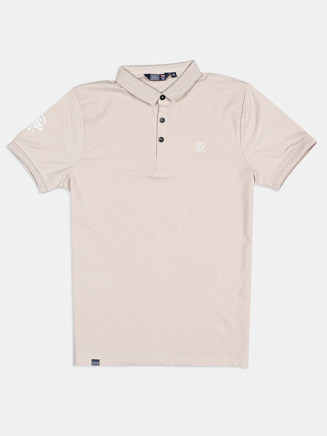 Freeze cotton solid beige polo t-shirt?imgeng=w_400