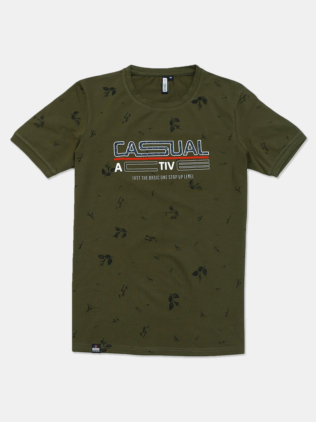 Freeze printed olive cotton mens t-shirt?imgeng=w_400