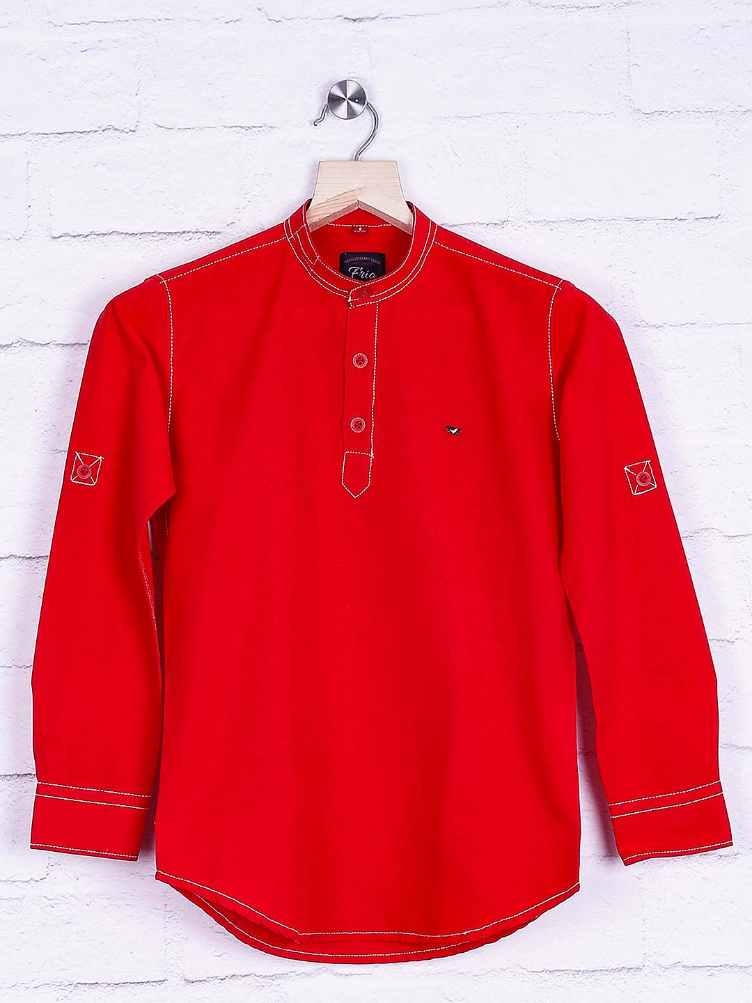 Frio red casual slim fit shirt?imgeng=w_400