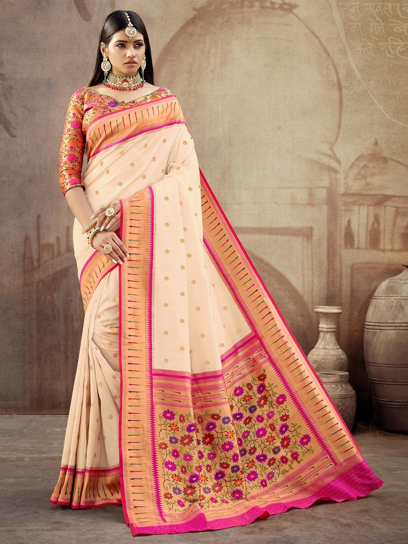 Gallant cream banarasi paithani silk wedding wear saree?imgeng=w_400