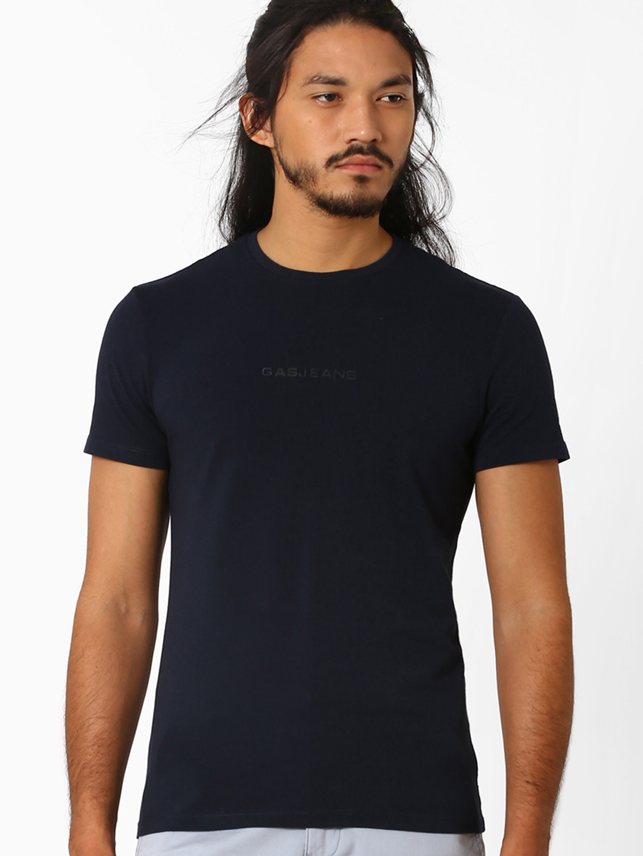 Gas black slim fit mens plain casual wear cotton t shirt?imgeng=w_400