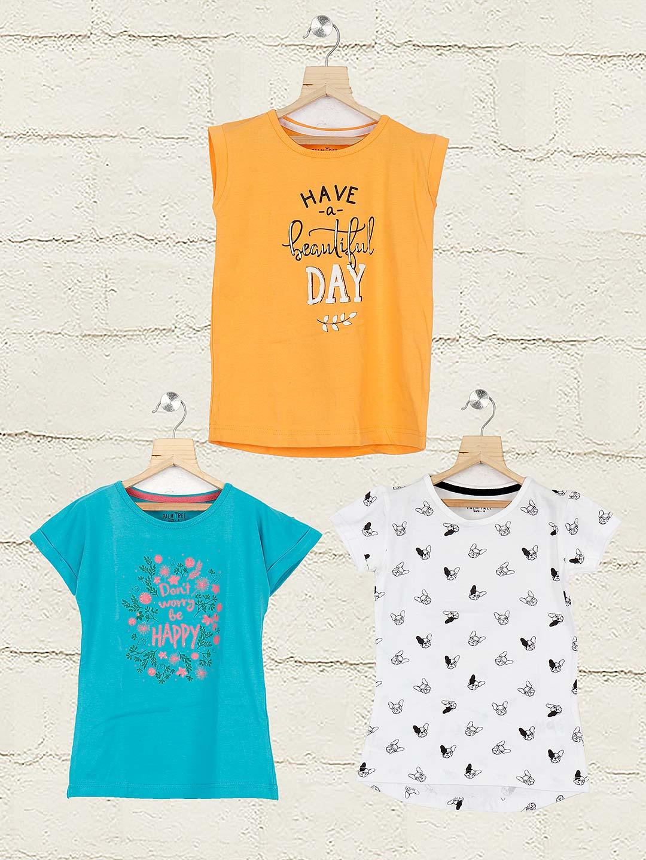 Gini and Jony white aqua and orange cotton fabric pack of 3 top?imgeng=w_400