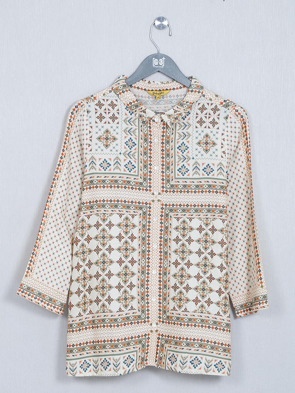 Global Desi beige cotton casual top?imgeng=w_400
