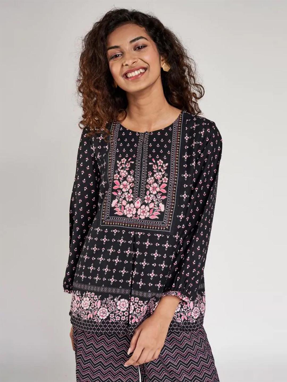 Global Desi black designer cotton printed casual wear top?imgeng=w_400