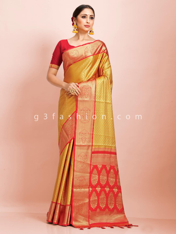 Gold and red art kanjivaram silk wedding wear exclusive saree?imgeng=w_400