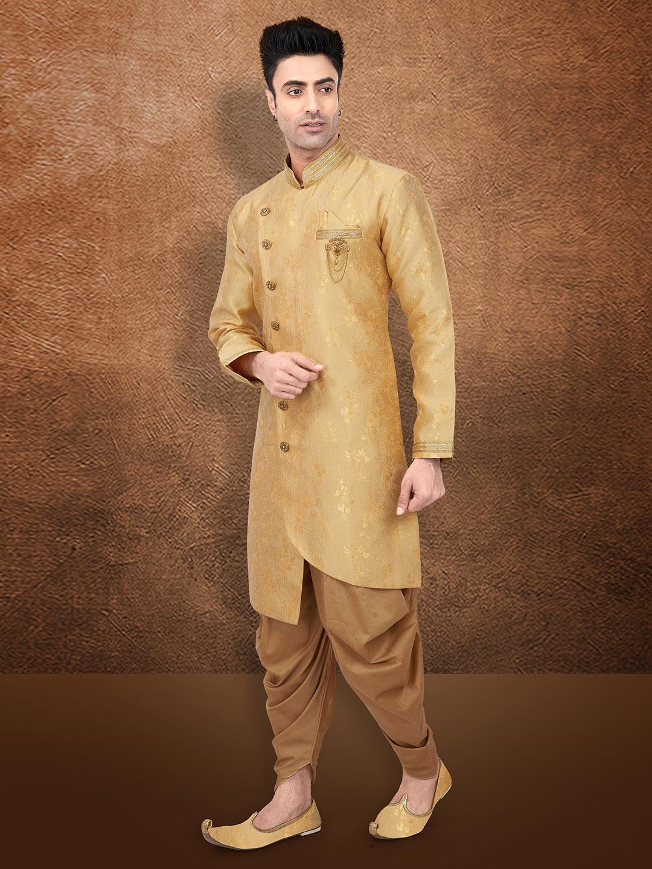 Gold raw silk fabric semi indo western?imgeng=w_400