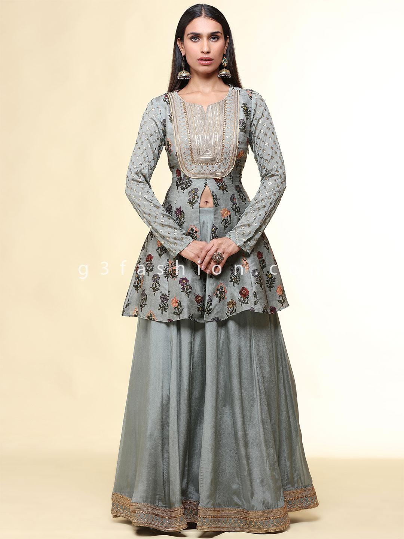 Gorgeous grey rawsilk printed wedding wear lehenga style suit?imgeng=w_400