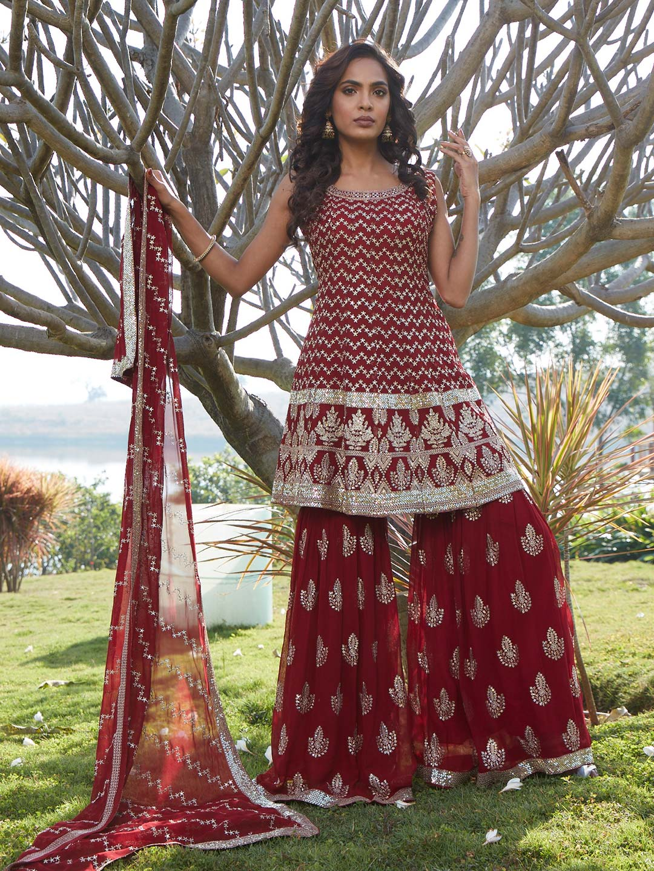 Gorgeous maroon georgette punjabi style wedding wear sharara suit?imgeng=w_400